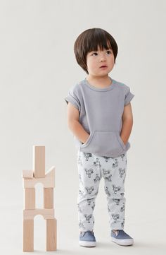 """Designer Baby Clothes - Organic Cotton by Broken Tricycle!  Features loose, """"slouchy"""" fit and roll sleeves"""