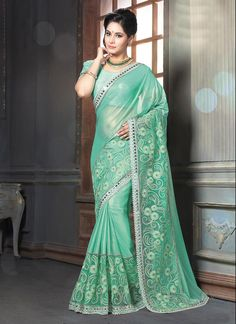 Buy online latest designer wedding sarees. Order this delectable georgette classic designer saree for bridal and wedding.