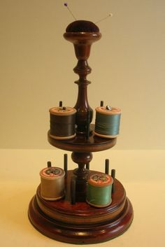English Victorian Mahogany Sewing Stand - Cotton Spool Holder - Pin Cushion