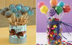 Como lembrancinhas, os cakepops ficam ainda mais fofos. Você pode montar potinhos com alguns pirulitos e encher a base com chocolates.