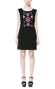 COLORED DRESS WITH ETHNIC BIB FRONT - Dresses - TRF - ZARA United States