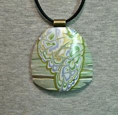 Large polymer clay focal pendant in mokume gane style pale green blue gold by Sweet2Spicy, $9.50 USD