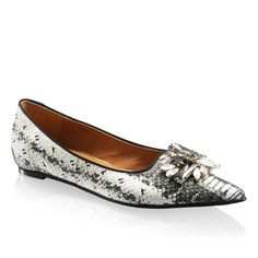 RUSSELL & BROMLEY | Tantrum flats in snakeskin | Natural snake print leather.  Leather lining.  Rubber sole | £215