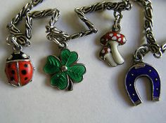 Antique Deco Silver Enamel Charm Bracelet 4 Lucky Charms Mushroom Clover Ladybug | eBay