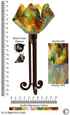 Jezebel Signature® Torch Light. Hardware: Brown with Brown Highlights. Glass: Daylily, Flame Style