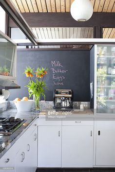 Actress Robin Tunney's house in Los Angeles, CA. Chalkboard in the kitchen. Published image.