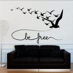 Wall decal decor decals sticker art bird seagull flight swallow inscription be free bedroom