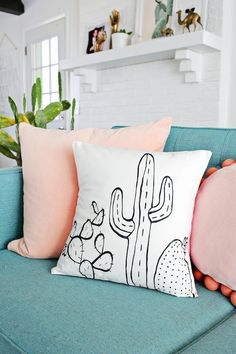 Your couch needs a DIY cactus pillow.