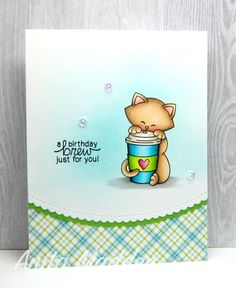 Just A Pigment Of My Imagination: A Birthday Brew Just For You | Newton Loves Coffee stamp set by Newton's Nook Designs #newtonsnook
