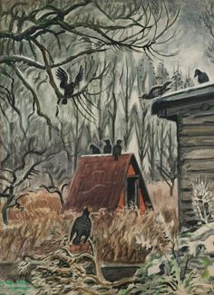 Charles Burchfield - Crows at Twilight | 1stdibs.com