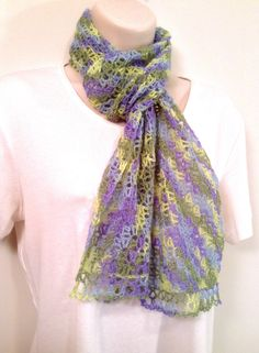 Pastel Mix Lace Crochet Scarf by SueAnnesKnitShoppe on Etsy