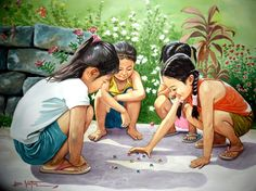 Love this painting. Reminds me of my childhood. Human Figure Sketches, Figure Sketching, Art Village, Filipino Art, Composition Painting, Childhood Memories 90s, Philippine Art, Indian Art Paintings, Watercolor Paintings