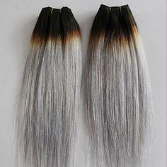 3pcs / lotto capelli vergini brasiliani dritto grigio platino capelli umani del tessuto fasci di estensioni dei capelli grigio argento – EUR € 79.00