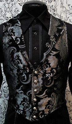 Victorian Aristocrat Vest by Shrine Clothing Goth Steampunk Mens Jackets by James R Allen ~A fabulous waistcoat, perfect for Ethan Smith in TIMESCAPE Victorian Mens Clothing, Steampunk Clothing, Steampunk Fashion, Gothic Fashion Men, Victorian Mens Fashion, Gothic Clothing, Gothic Shirts, Steampunk Mode, Steampunk Wedding