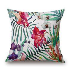 Tropical Bird Print Pillow Cover