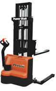 """You are buying one Presto PowerStak model #PPS3000-125FS Heavy Duty 24 volt DC/1000 watt drive motor with built in charger. 10"""" x 4"""" polyurethane load wheels. Adjustable forged steel forks, 4"""" wide x 2"""" thick x 42"""" long. 2 x 12 volt 150 amp/hr batteries. E-Stop emergency stop switch and safety key switch. 25 amp internal 115V charger. Hour meter with battery discharge indicator."""