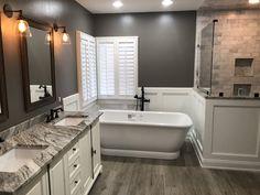 Remodel countertops Super cute and simple bathroom remodel. Super cute and simple bathroom remodel. Bathroom Renos, Bathroom Renovations, Home Renovation, Home Remodeling, Bathroom Ideas, Bathroom Faucets, Bathroom Updates, Shower Ideas, Bathroom Wainscotting