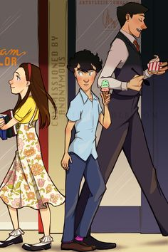 A commission piece by Anon (posted with permission). I was asked to have Mycroft (age ~20) and Sherlock (age ~13) going out for ice cream when Sherlock first spots Molly. Thank you so much for allowing me to do this! It was fun! :)