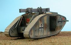 Mk. IV Male Tank by Glen Porter (Emhar 1/72) Ww1 Tanks, Military Action Figures, Sliding Closet Doors, Model Tanks, Toy Soldiers, Armored Vehicles, Small World, Rear View, World War