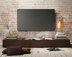 15 Cool and Fabulous Minimalist TV Storage Design Ideas That is Easy to Imitate Tv Storage, Storage Design, Brick Wall Tv, Tv Wall Design, House Design, Television Wall Mounts, Karton Design, Photo Deco, Living Room Tv