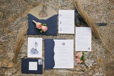 Nautical-inspired wedding invitation idea - white + navy invitations with nautical illustrated motifs {Lara Kimmerer | photographer}