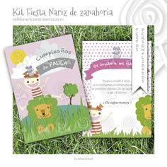 Tarjeta invitación niña Fiesta Nariz de por CelebracionesCaseras, €2.95