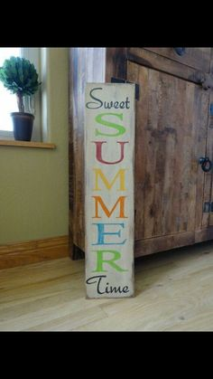 painted wood sign/ Summer sign/ Front door vertical sign/ Outside patio sign/ Summer decor/ Vertical sign - Sweet Summer Time sign. This hand painted Summer sign would look great by the fr - Patio Signs, Pool Signs, Front Porch Signs, Front Doors, Outdoor Signs, Beach Signs, Front Porches, Painted Wood Signs, Wooden Signs