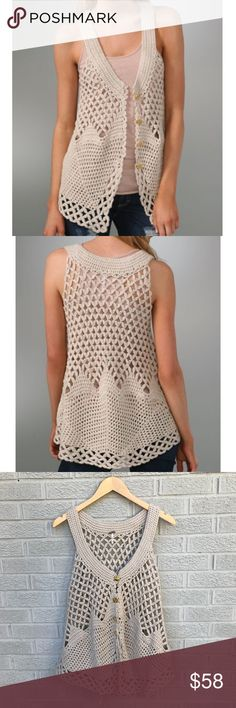 """Free People Oversized Crochet Vest Free People Oversized Crochet Vest In champagne combo! Love this oversized crocheted vest with a scoop neck & 4-gold look button closure. Sheer. Size Small. 60% cotton/40% acrylic. 19"""" across the chest & 25.5"""" Long in front & 27.5"""" in Back. Good used condition! JS3426011118 Free People Tops"""