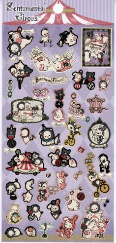 SanX Sentimental Circus Sticker Sheet  SE19302 by xlalax on Etsy, $3.50
