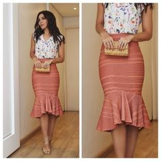 APRENDE HACER FALDA TROMPETA CON PATRONES Classy Outfits, Chic Outfits, Modest Fashion, Fashion Dresses, Robes D'occasion, Cute Skirts, Knee Length Dresses, African Dress, Skirt Outfits