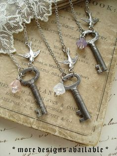 bridesmaids gifts SECRET GARDEN Antique Skeleton Key by RomantiquarianDesign