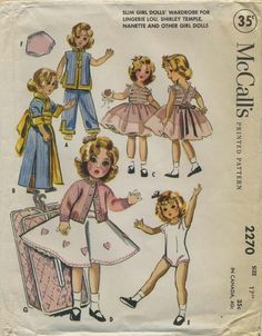 """Vintage Doll Clothes Sewing Pattern   Slim girl doll's wardrobe for Lingerie Lou, Shirley Temple, Nanette and other girl dolls   McCall's 2270   Year 1958   Size 17""""   Chest 8-1/2""""   Waist 7-1/4""""   Hip 9"""""""