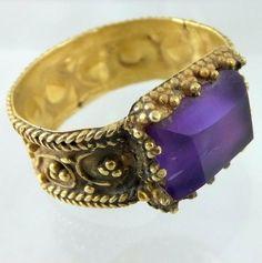 Oro bizantino tardío y el anillo de amatista. Ca 800 dC