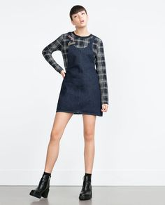"Image 1 of ""ESSENTIALS"" DENIM PINAFORE DRESS from Zara"