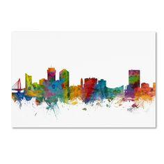 Wichita Kansas Skyline by Michael Tompsett Graphic Art on Wrapped Canvas