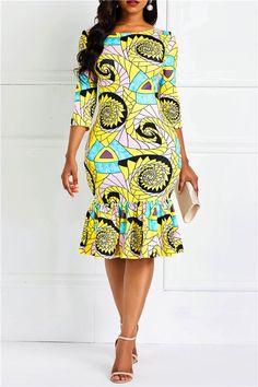Ankara Print Slash Neck Mermaid Women& Bodycon Dress f. Best African Dresses, African Traditional Dresses, Latest African Fashion Dresses, African Print Dresses, African Attire, Women's Fashion Dresses, Ankara Dress Styles, African Fashion Designers, African Fashion Ankara
