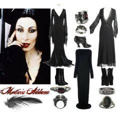 """I deleted this set, and now I'm mad at myself.  """"Morticia Addams"""" by paintedsouldesign on Polyvore"""