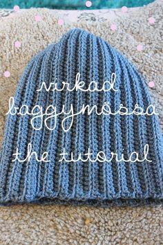 Baggy Beani & other patterns Beanie Pattern Free, Crochet Beanie Pattern, Crochet Shawl, Diy Crochet, Knitting Patterns Free, Free Knitting, Crochet Patterns, Hat Patterns, Fabric Yarn