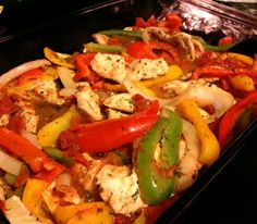 Baked chicken fajitas!!! These are healthy, easy, and DELICIOUS. we make these every week!