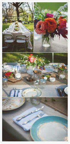 Picnic. Vintage china, rustic settings, shabby chic. Mason jars, seasonal flowers.