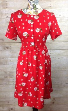 e8e2831a8730f BLAIR Women s Red Floral Daisy Dress Button Up 90s Style Baby Doll Spring  Summer