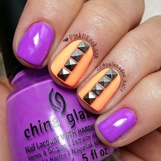 Really loving this unexpected nail color combo! // purple + creamsicle orange with studs!
