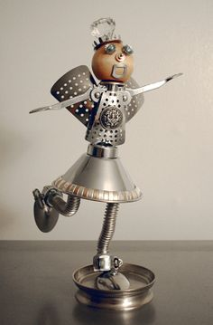 "Found object art- ""Princess Fairy Nuts""- Approx. 13"" tall."