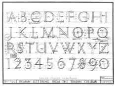 Lettering from the Trajan column. Beautiful technical drawings showing the underlying structure of the typeface. The engraving on the Trajan column was made into a typeface in 1989 by an American letter form designer Carol Twombly. Roman Letters, Love Letters, Typography Fonts, Typography Design, Trajan Font, Trajan's Column, Drawing Letters, Letter Form, Painted Signs