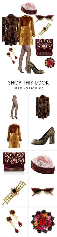 """""""Beautiful Vintage Velvet"""" by p0llyinurpocket ❤ liked on Polyvore featuring Wolford, CO, A.L.C., Elie Saab, Federica Moretti, Christian Lacroix, Chanel, Yves Saint Laurent and vintage"""