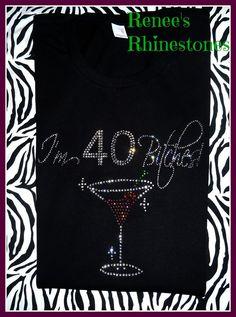40th Birthday Rhinestone T shirt Womens by ReneesRhinestones1, $19.99 40th Party Ideas, 40th Bday Ideas, 40th Birthday Gifts For Women, 40th Birthday Cards, Birthday Ideas, Fiftieth Birthday, 1974 Birthday, Fifty Birthday, Birthday Woman