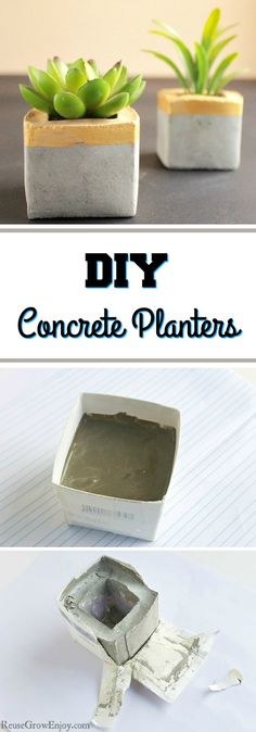 Need some new planters? If you are looking for some you can make at home and want them to be stylish, I have just the thing. I will show you how to make these DIY concrete planters using recycled cartons.