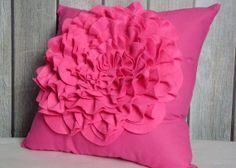 Captivating Pink Pillow. Felt Flower Pillow. Throw Pillow. Accent Pillow. Pillow Cover.