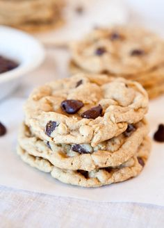 Chocolate Chip Peanut Butter Oatmeal Cookies (adapted from the Peanut Butter Oatmeal White Chocolate Chip Cookie recipe)