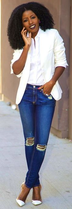 White Blazer + White Button-up + Distressed Jeans by Style Pantry